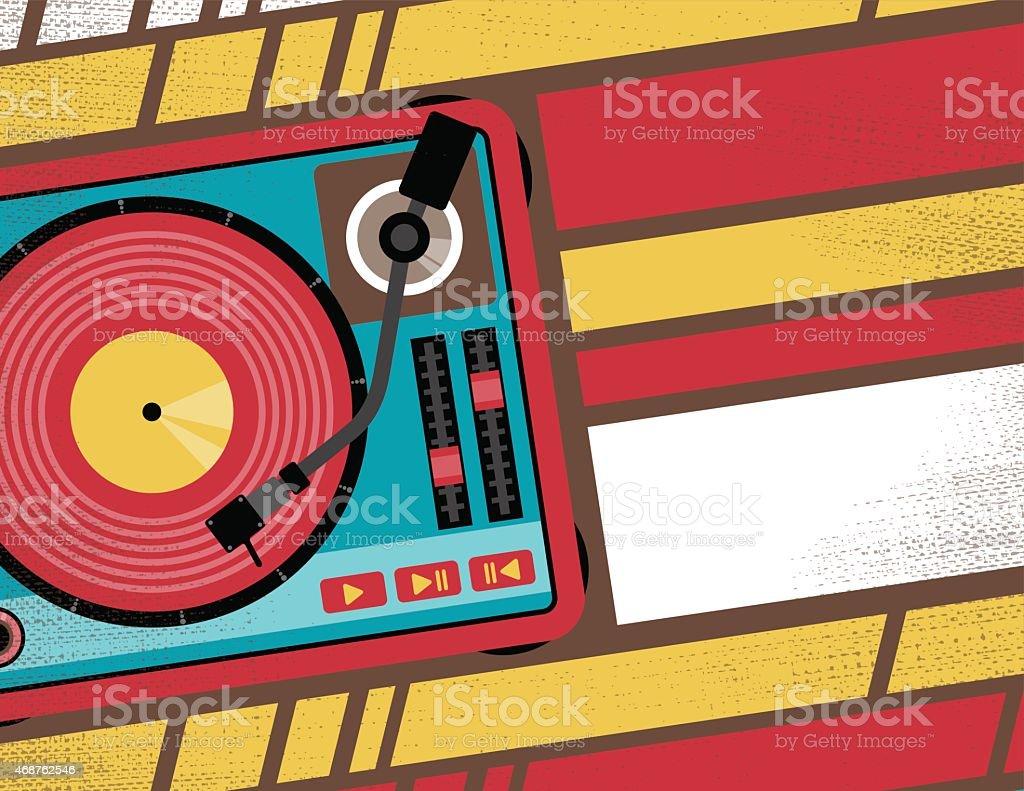Retro Turntable Club Flyer. vector art illustration