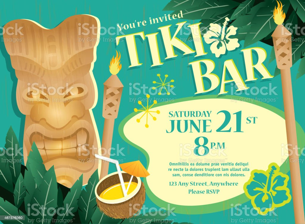 Retro turquoise Summer Tiki Bar Hawaiian party invitation design template vector art illustration