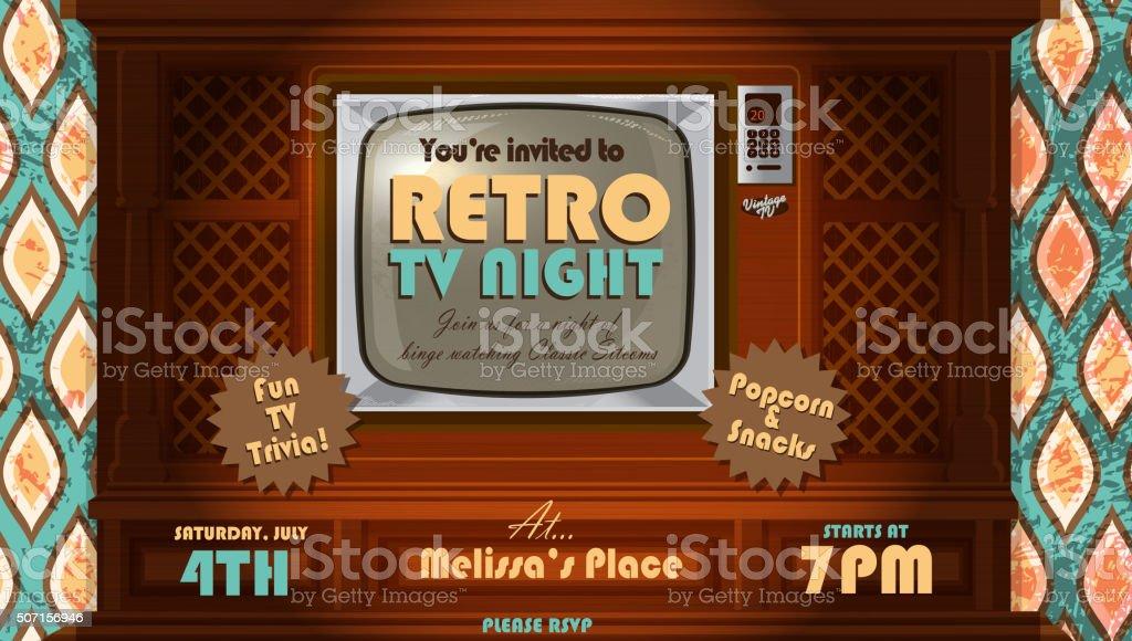 Retro TV Night invitation design template with vintage wood television vector art illustration