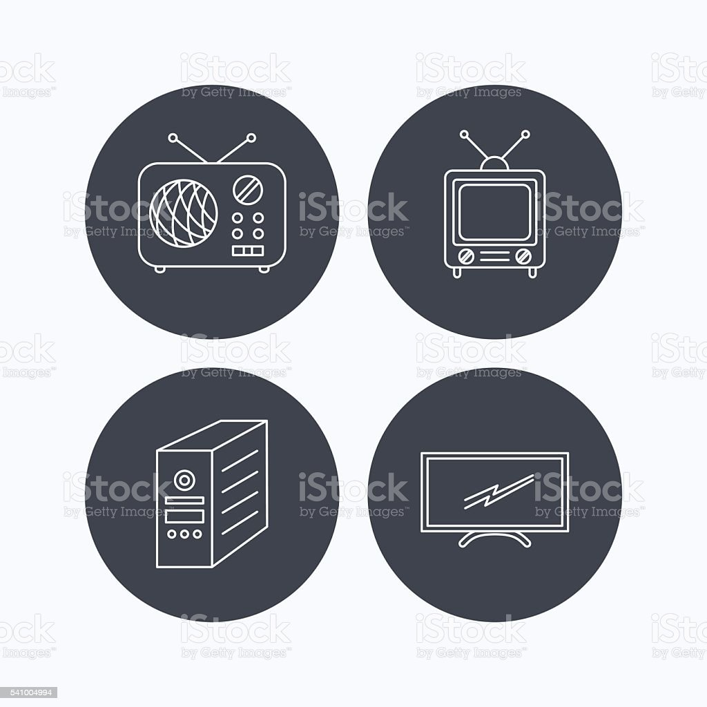 Retro TV, radio and PC case icons. vector art illustration
