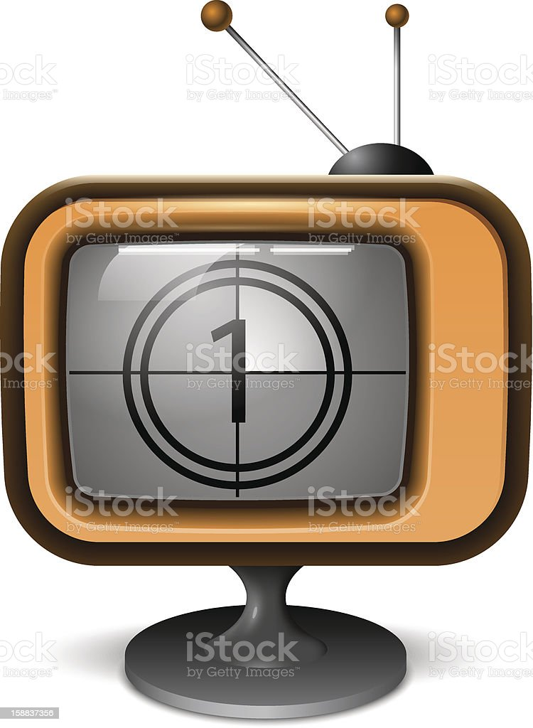 Retro TV Realistic Icon with Countdown royalty-free stock vector art