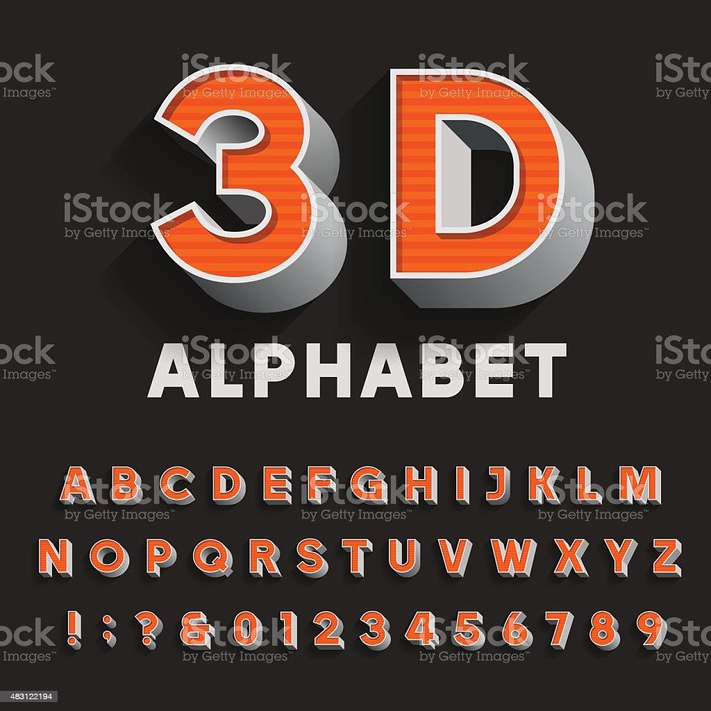 3D retro type font with shadow. Vector Alphabet. vector art illustration
