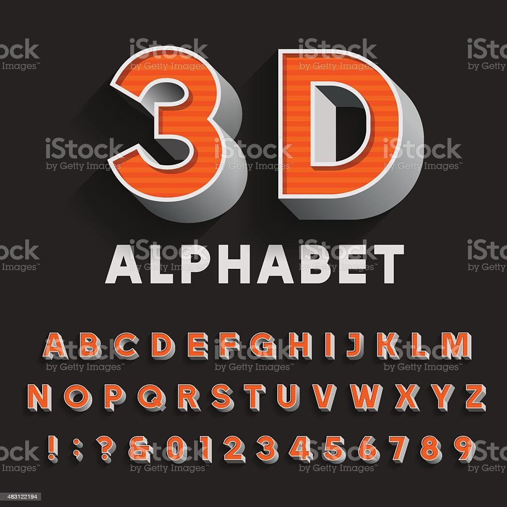 3D retro type font with shadow. Vector Alphabet. vector art illustration