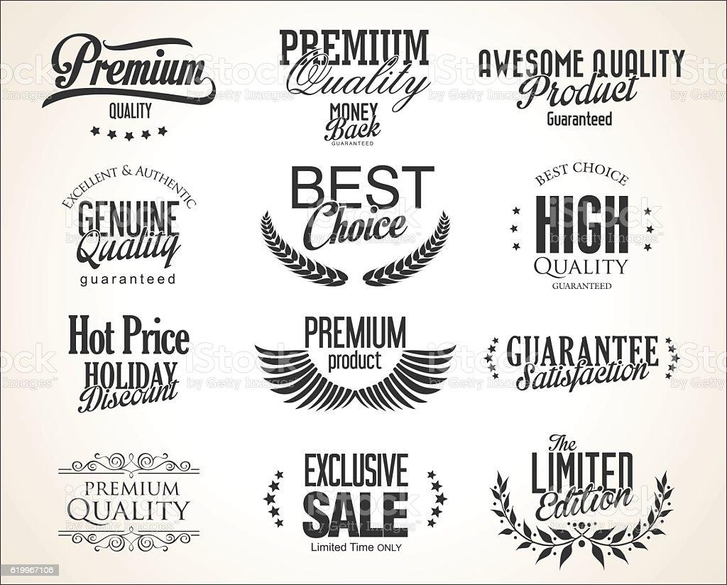 Retro Typography premium quality badge design vector art illustration