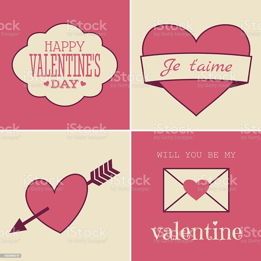 Retro Valentine's Day Cards royalty-free stock vector art