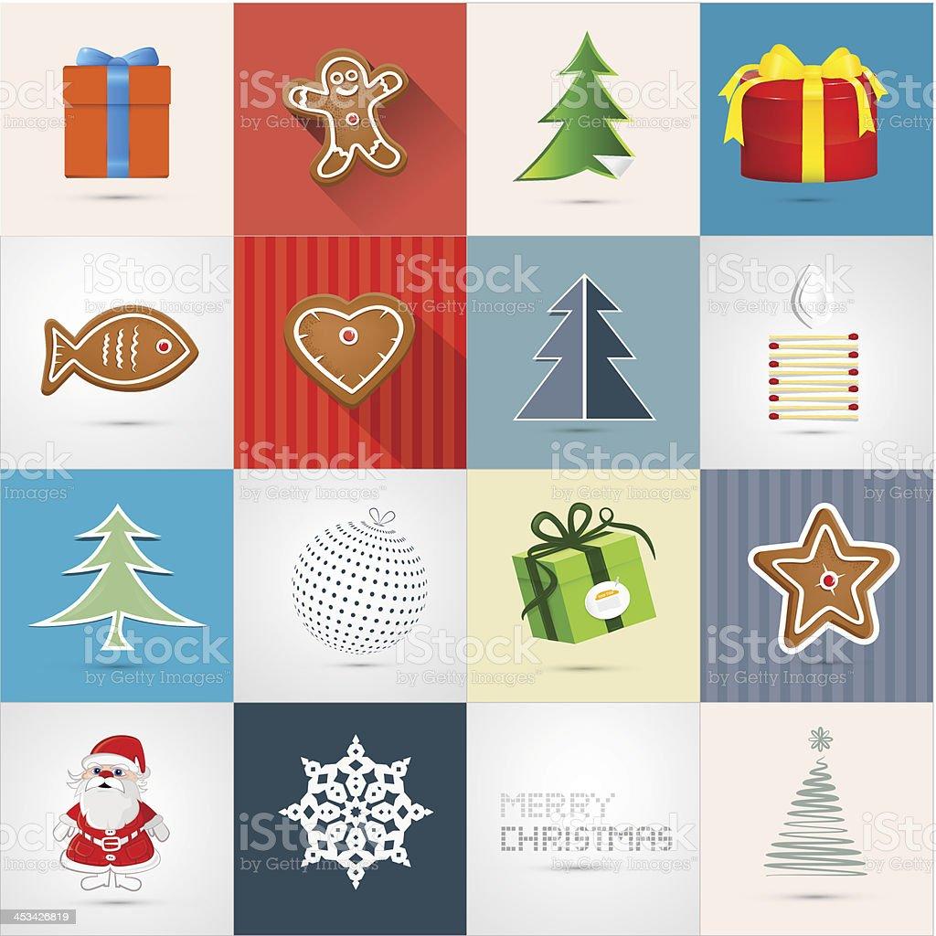 Retro Vector Christmas Icons Set vector art illustration