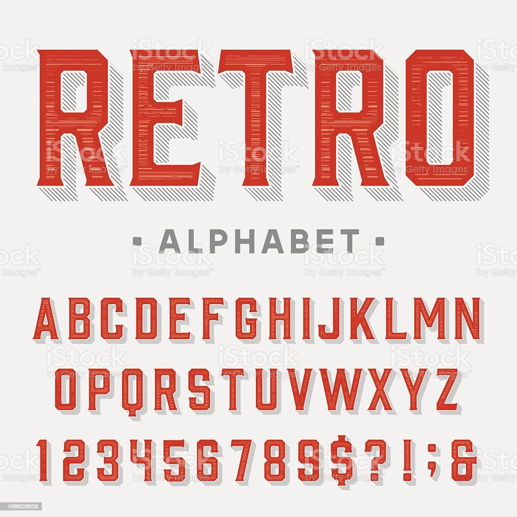 Retro vector font. vector art illustration