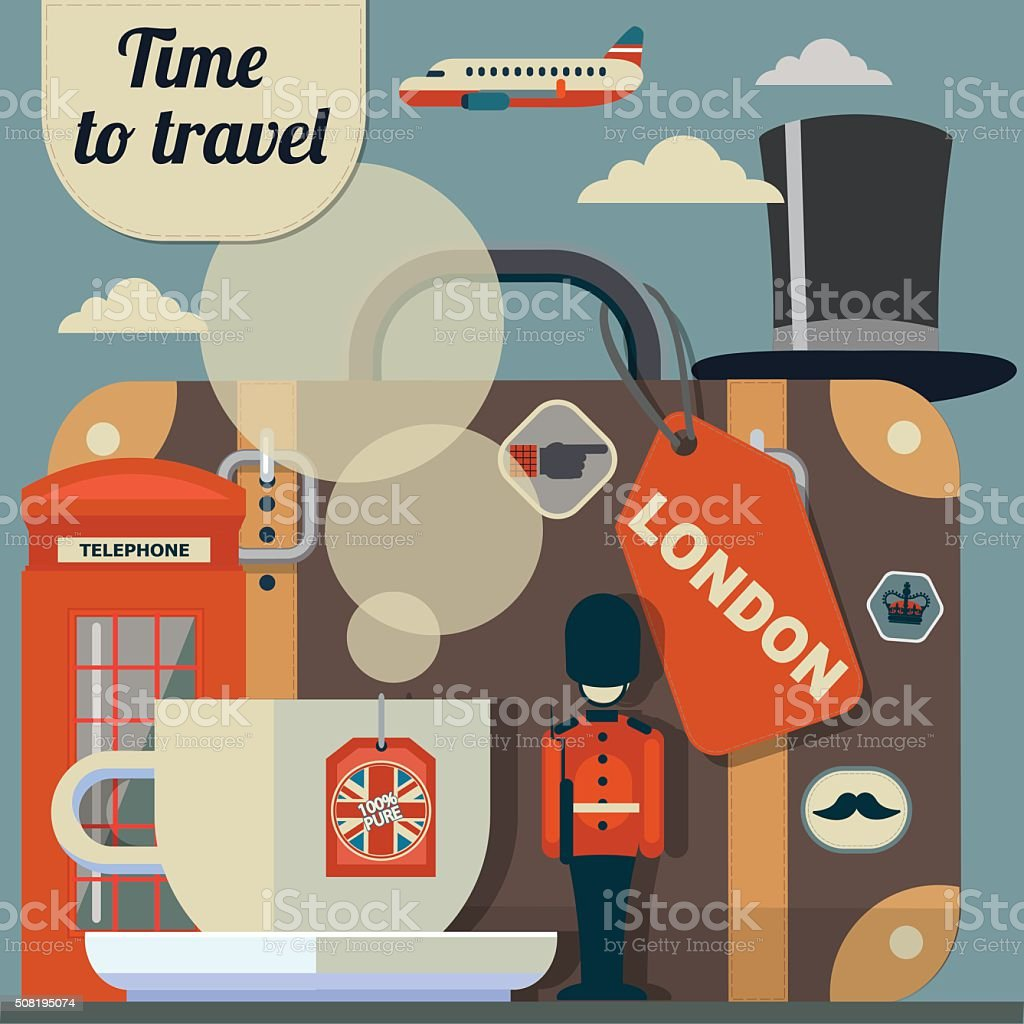 retro vector illustration of travel to London vector art illustration