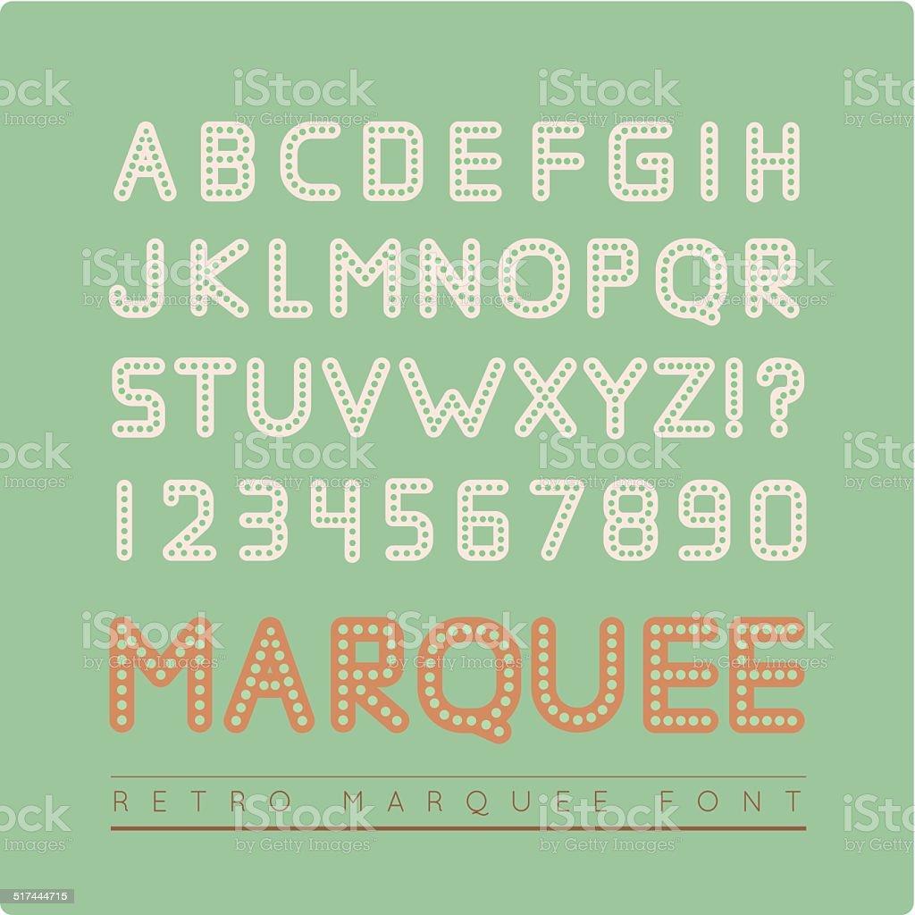 Retro vector vintage marquee font. vector art illustration