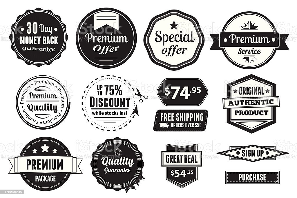 Retro vector vintage seals, labels, stamps and buttons royalty-free stock vector art