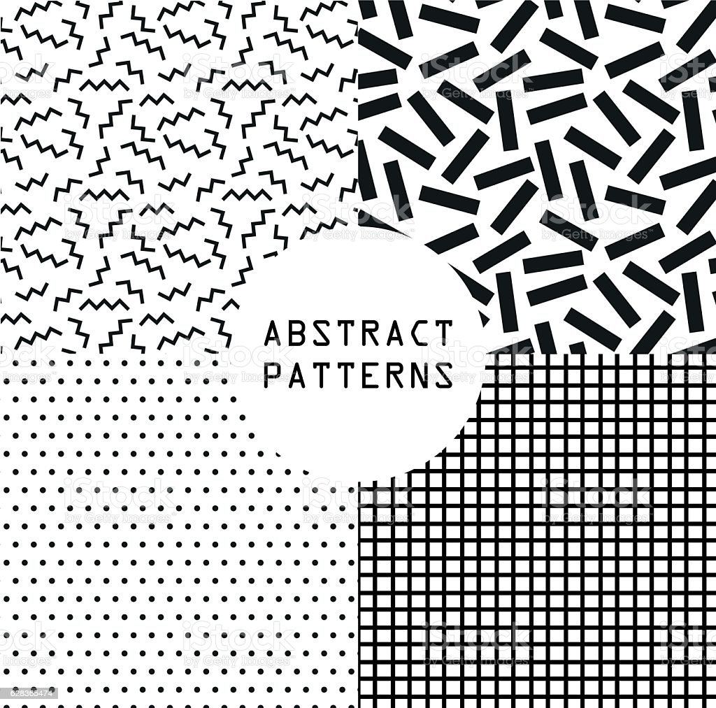 Retro vintage 80s or 90s fashion style. Abstract seamless patterns vector art illustration