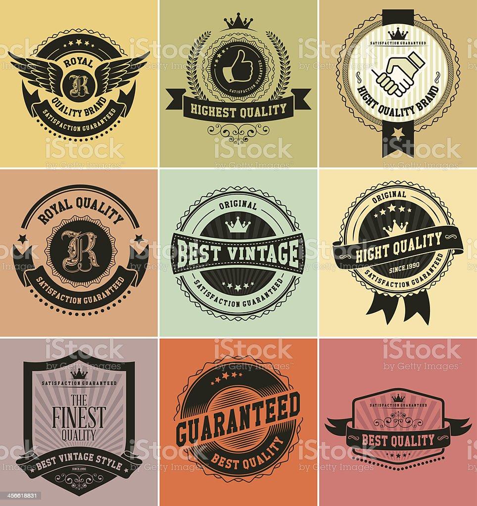 Retro vintage badges and labels vector art illustration