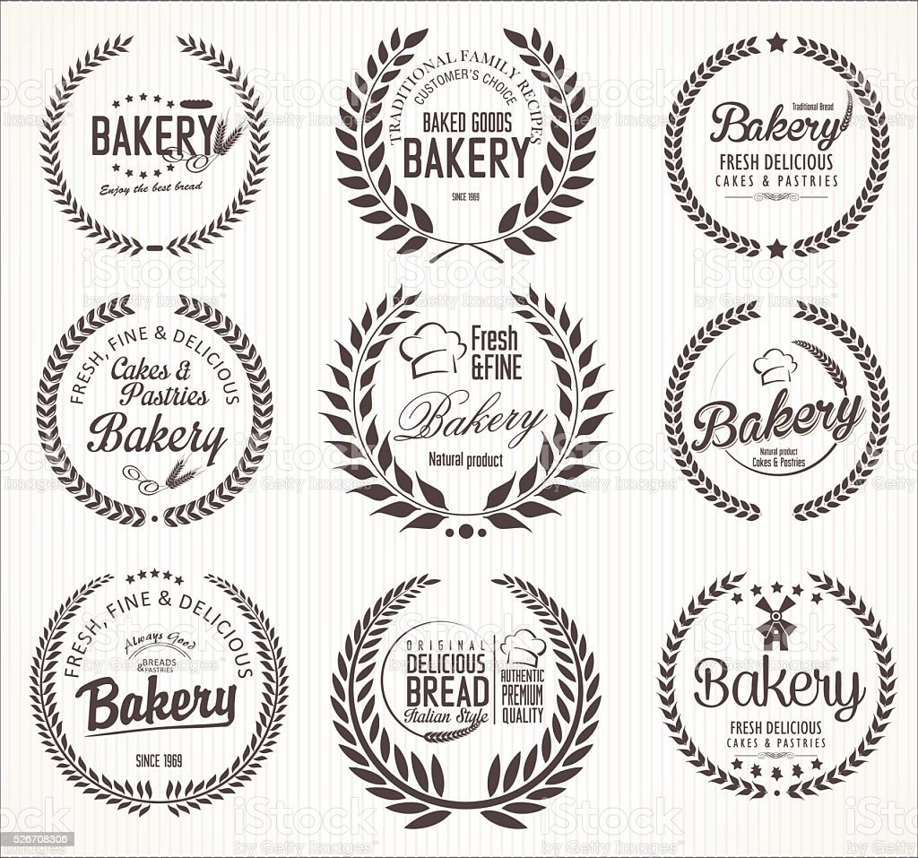 Retro vintage bakery labels vector art illustration