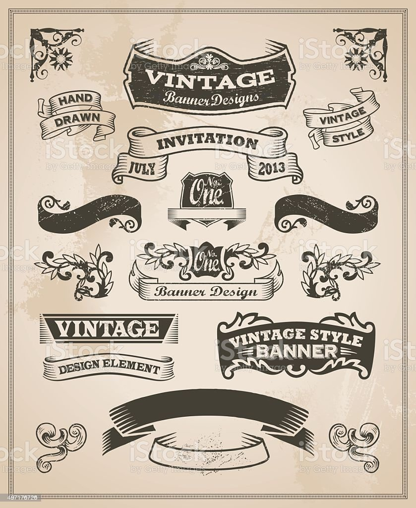 Retro vintage banner and ribbon set vector art illustration