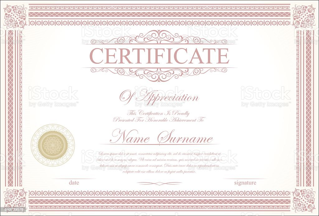 retro vintage certificate or diploma template stock vector