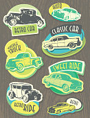 Retro vintage classic car labels or signs green and yellow