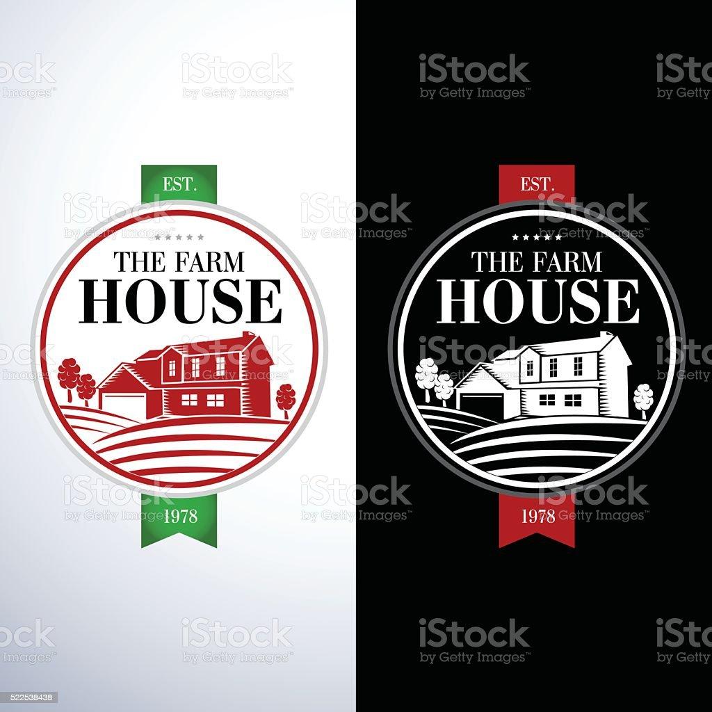 Retro, vintage Farm House concept logo templates. vector art illustration