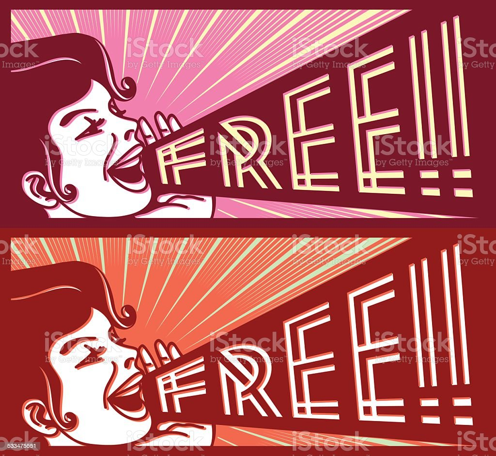 Retro vintage girl screaming with megaphone free special offer poster vector art illustration