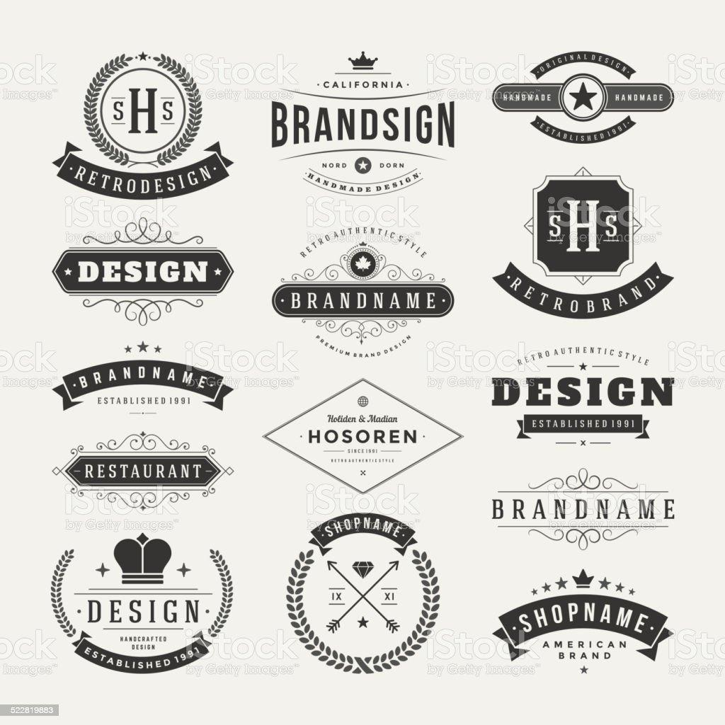 Retro Vintage Insignias or Logotypes set vector design elements vector art illustration