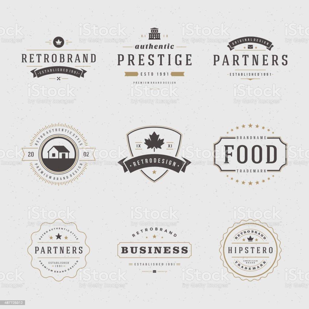 Retro Vintage Insignias or Logotypes set vector art illustration