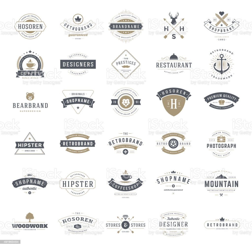 Retro Vintage Logotypes or insignias set. Vector design elements vector art illustration