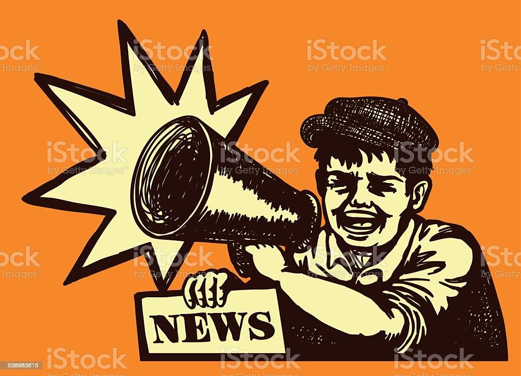 Retro vintage paperboy shouting with megaphone selling newspaper vector art illustration