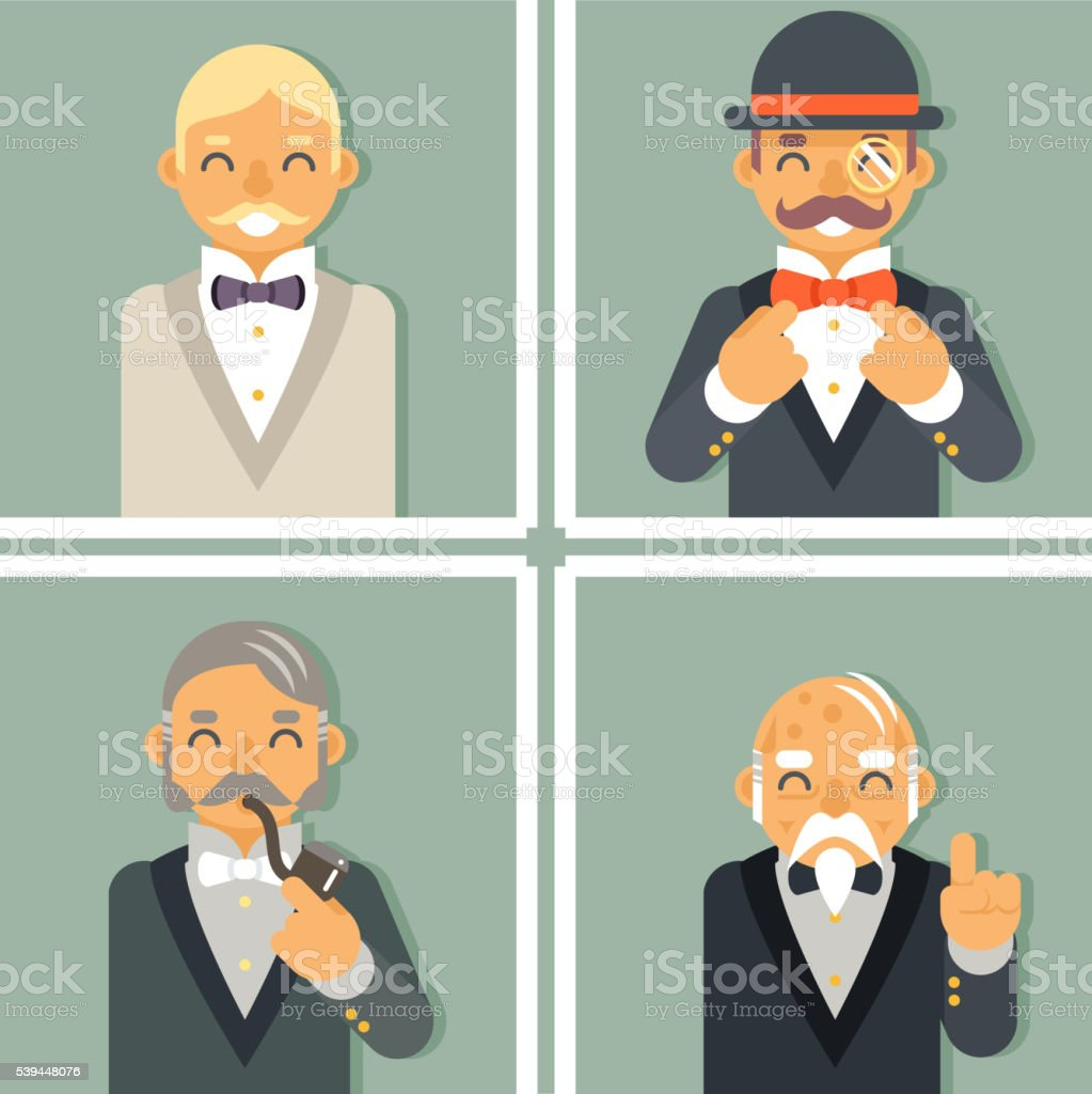 Retro Vintage Photo Frames Wealthy Victorian Gentleman Businessman Old Young vector art illustration
