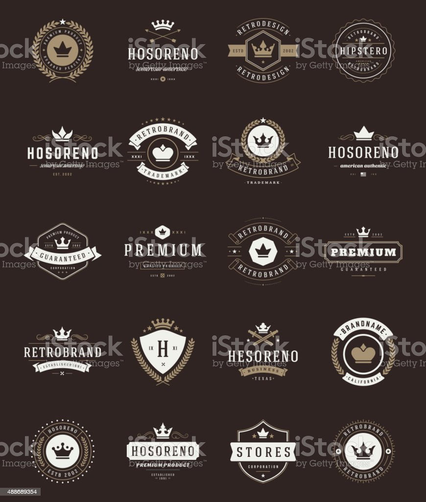 Retro Vintage Premium Quality Labels and Crowns set vector art illustration