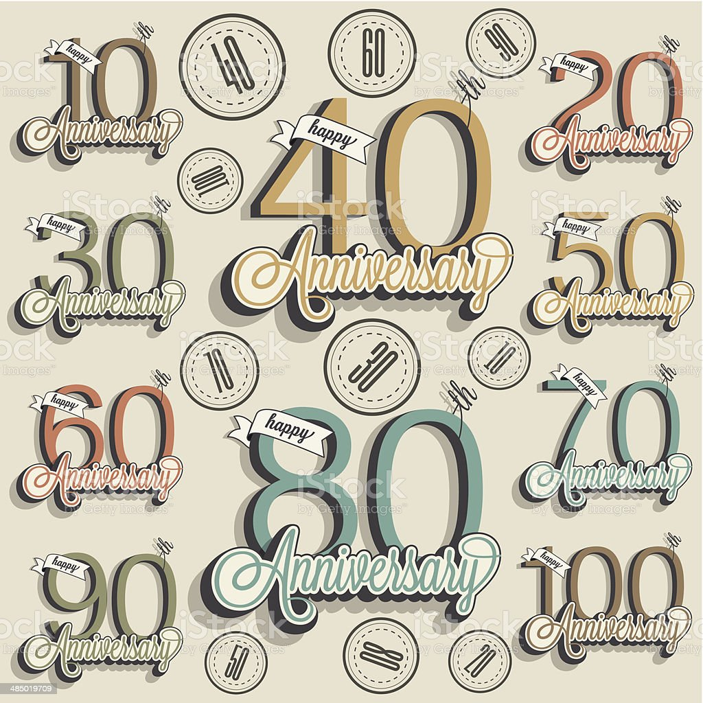 Retro Vintage style anniversary greeting card collection with calligraphic design. royalty-free stock vector art