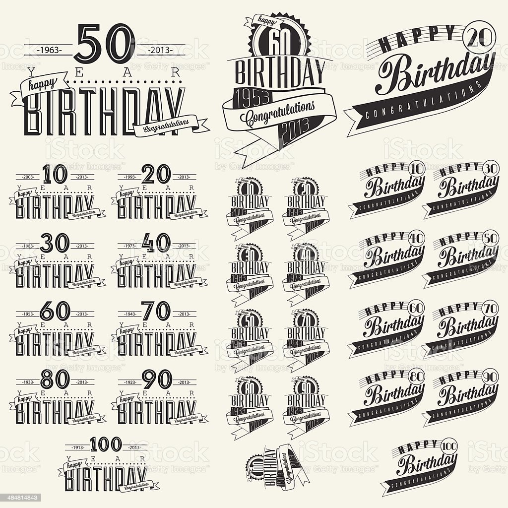 Retro Vintage style Birthday greeting card collection in calligraphic design. royalty-free stock vector art