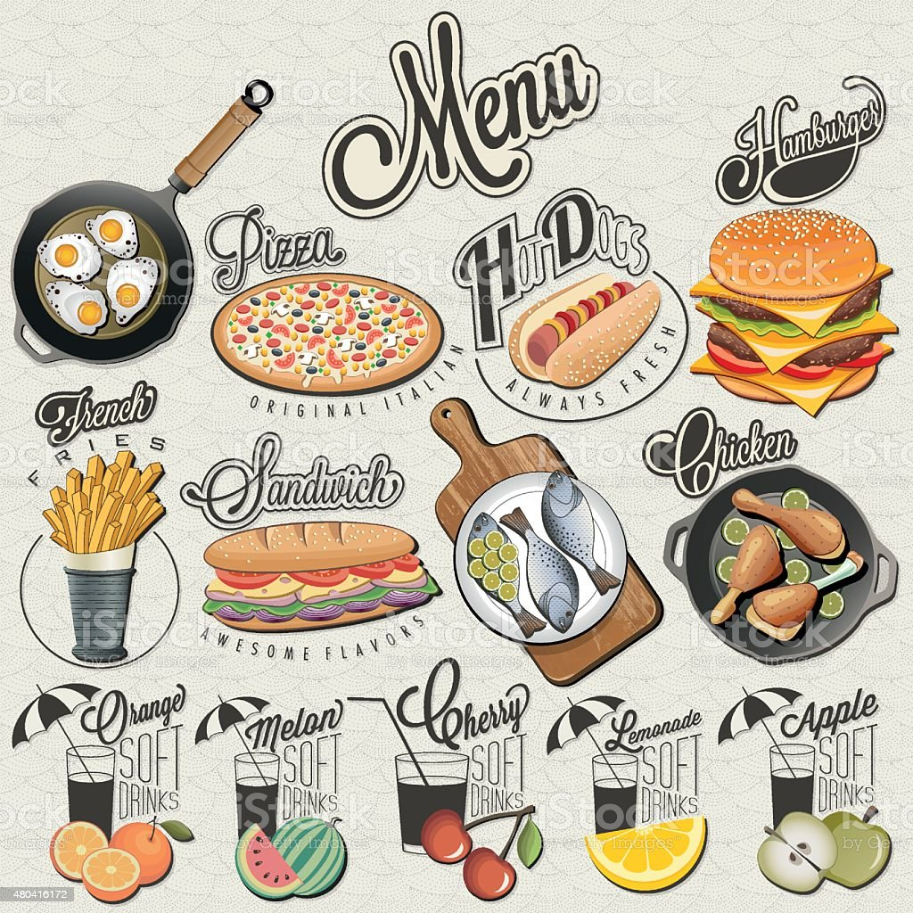 Retro vintage style fast food and drinks designs. vector art illustration