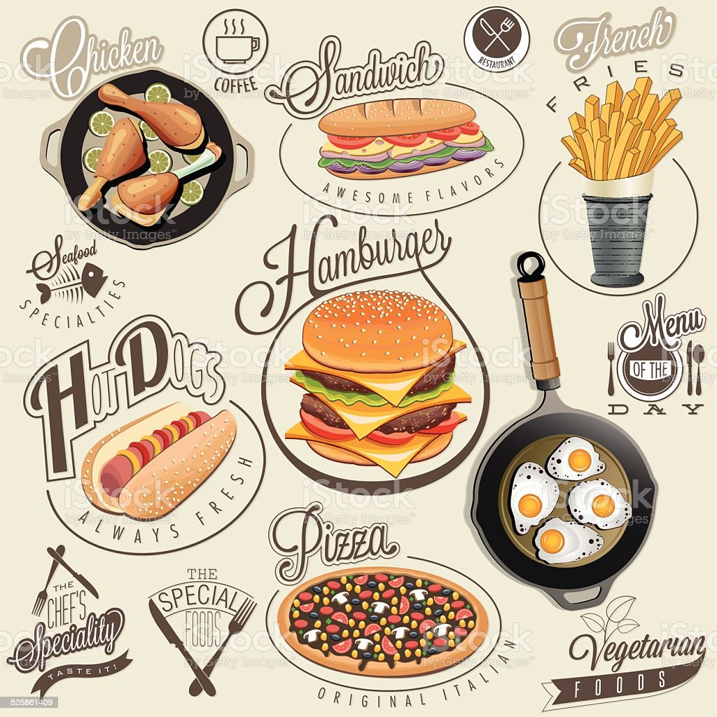Retro vintage style fast food designs. vector art illustration