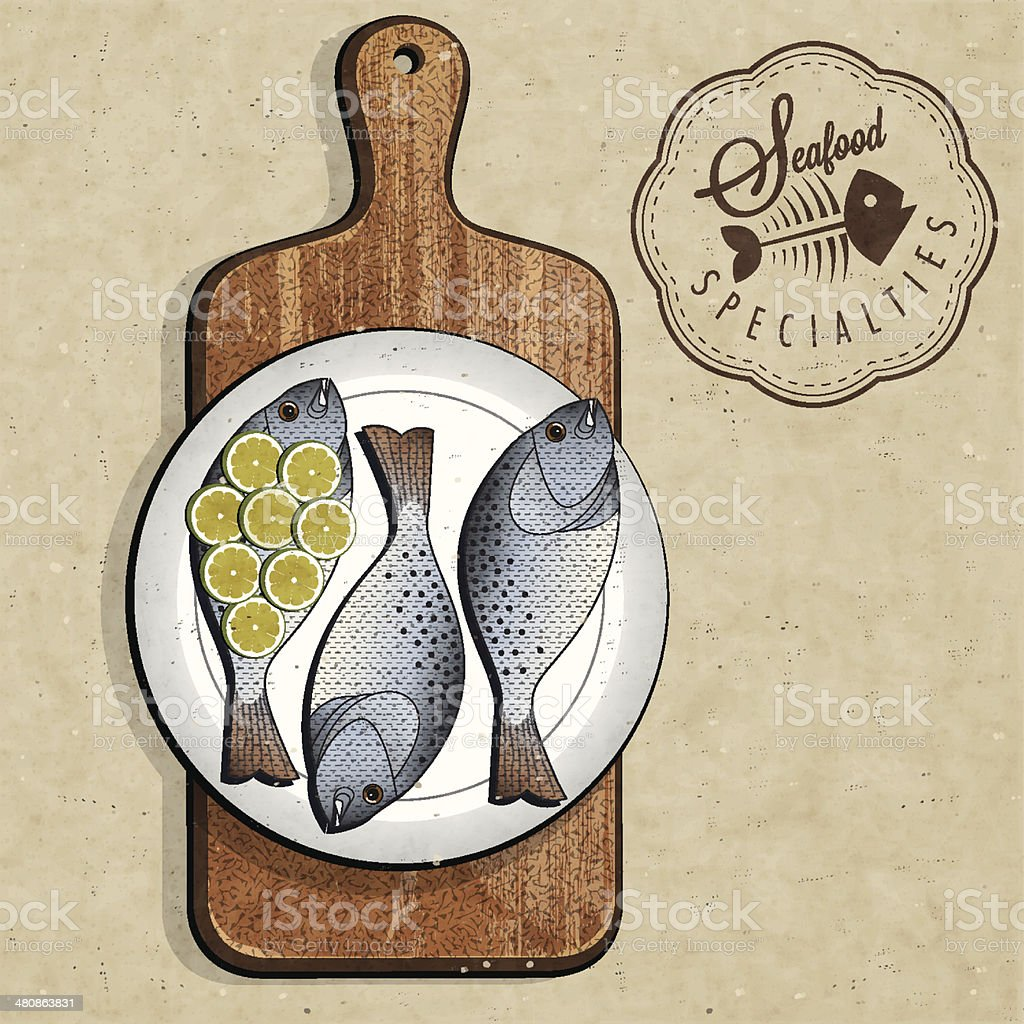Retro vintage style Fish specialties with Cutting Board. vector art illustration