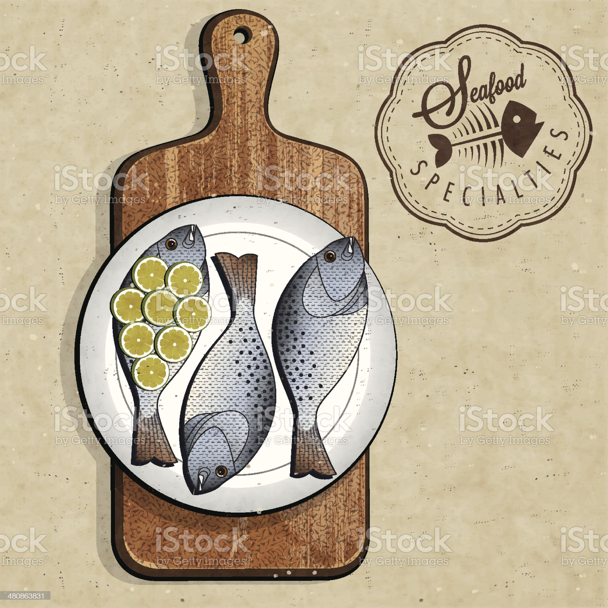 Retro vintage style Fish specialties with Cutting Board. royalty-free stock vector art