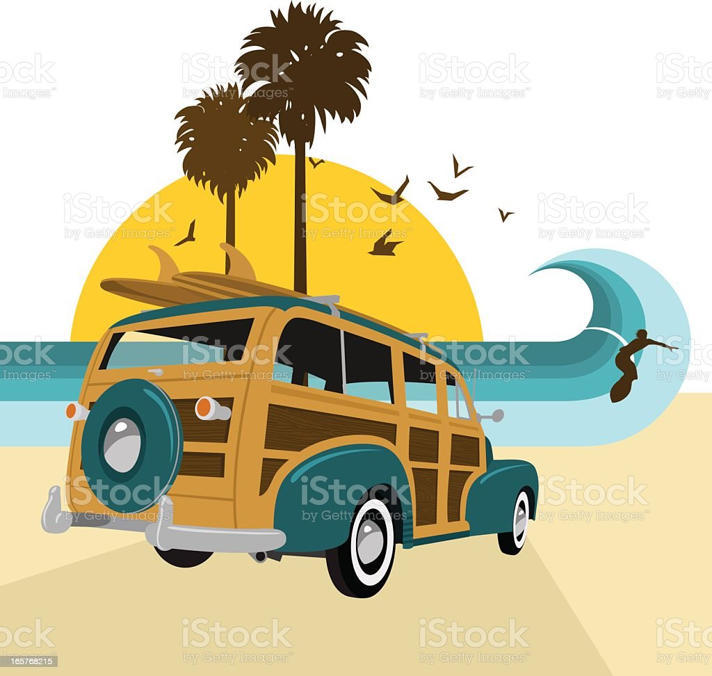 Retro vintage surf.Surf?s up series. Woody, surfboard, summer, sea vector art illustration