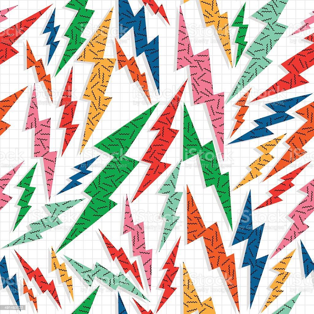 Retro vintage thunder bolt lighting ray 80 pattern vector art illustration