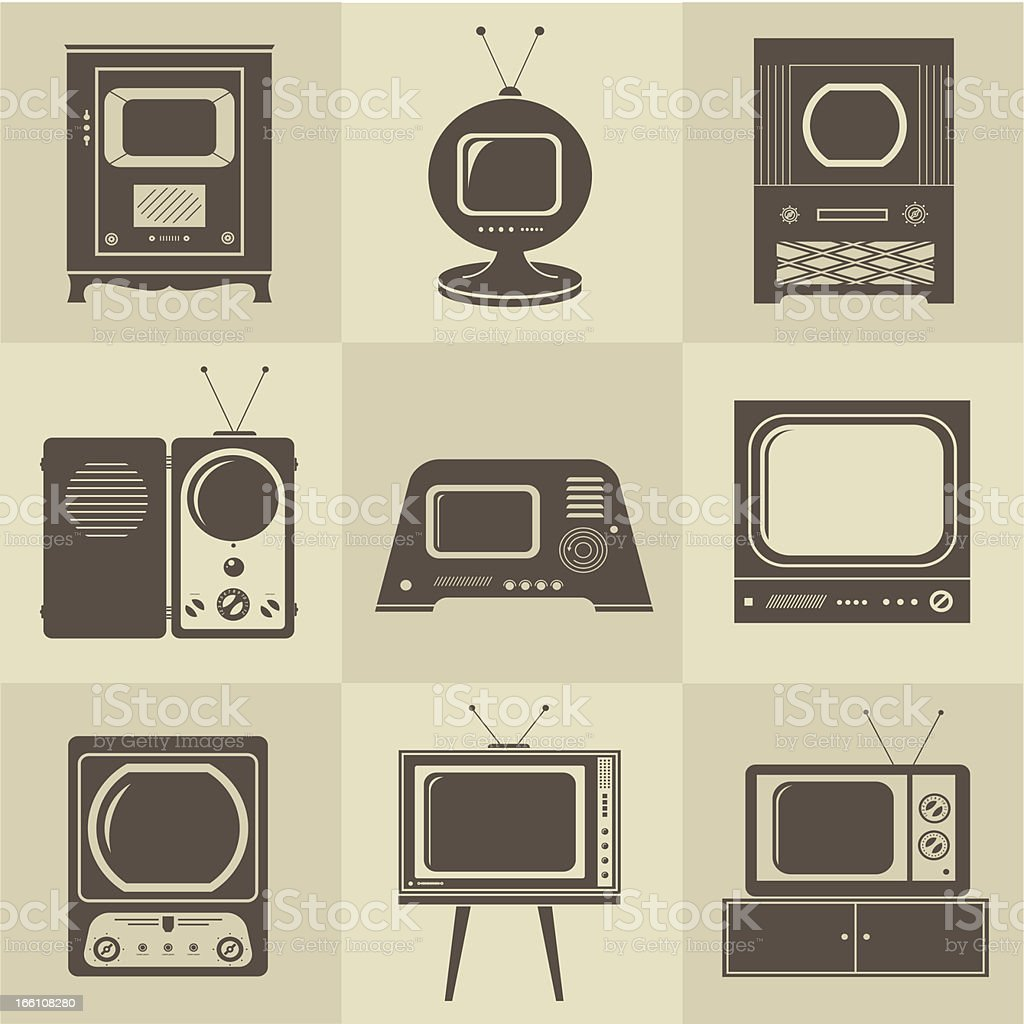 Retro vintage Tv set vector art illustration