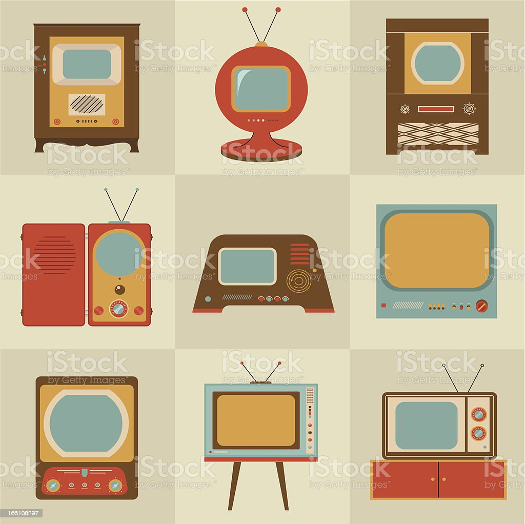 Retro vintage Tv set royalty-free stock vector art
