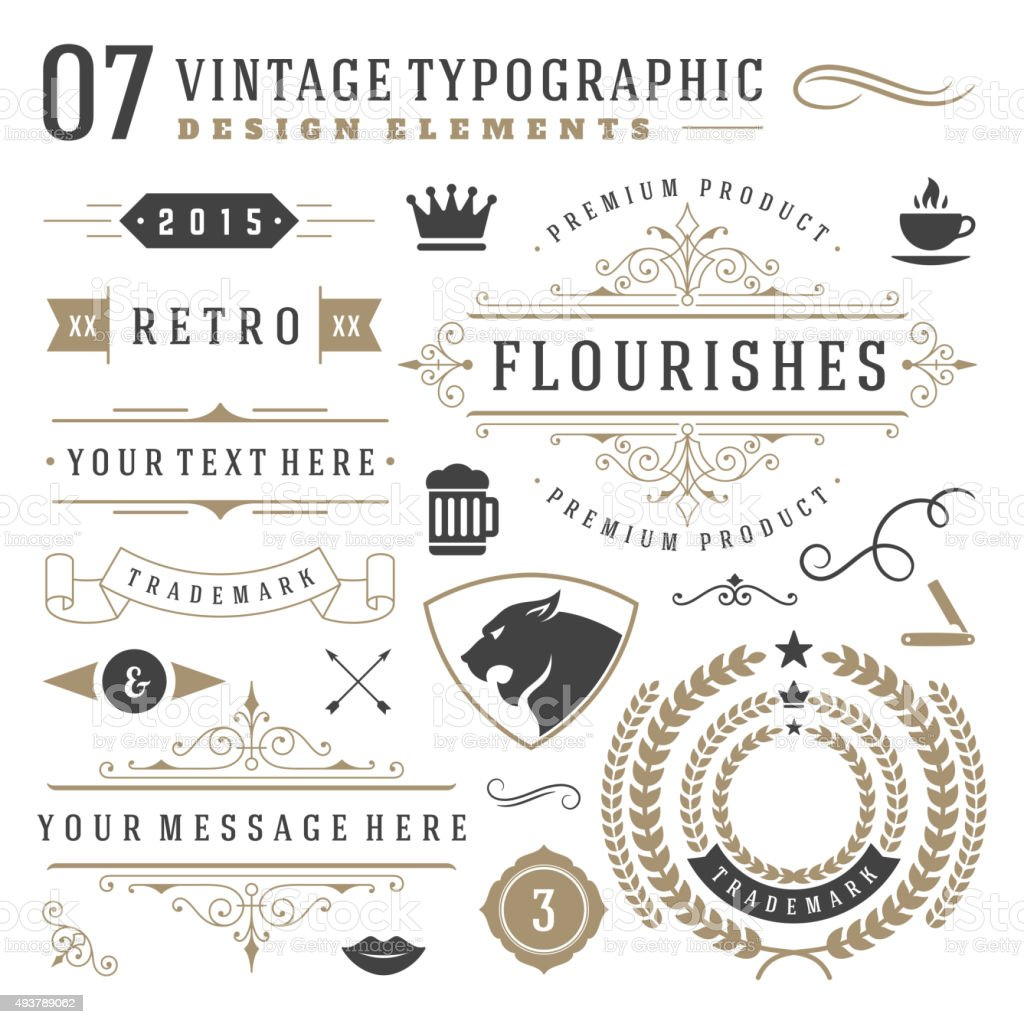 Retro vintage typographic design elements vector art illustration