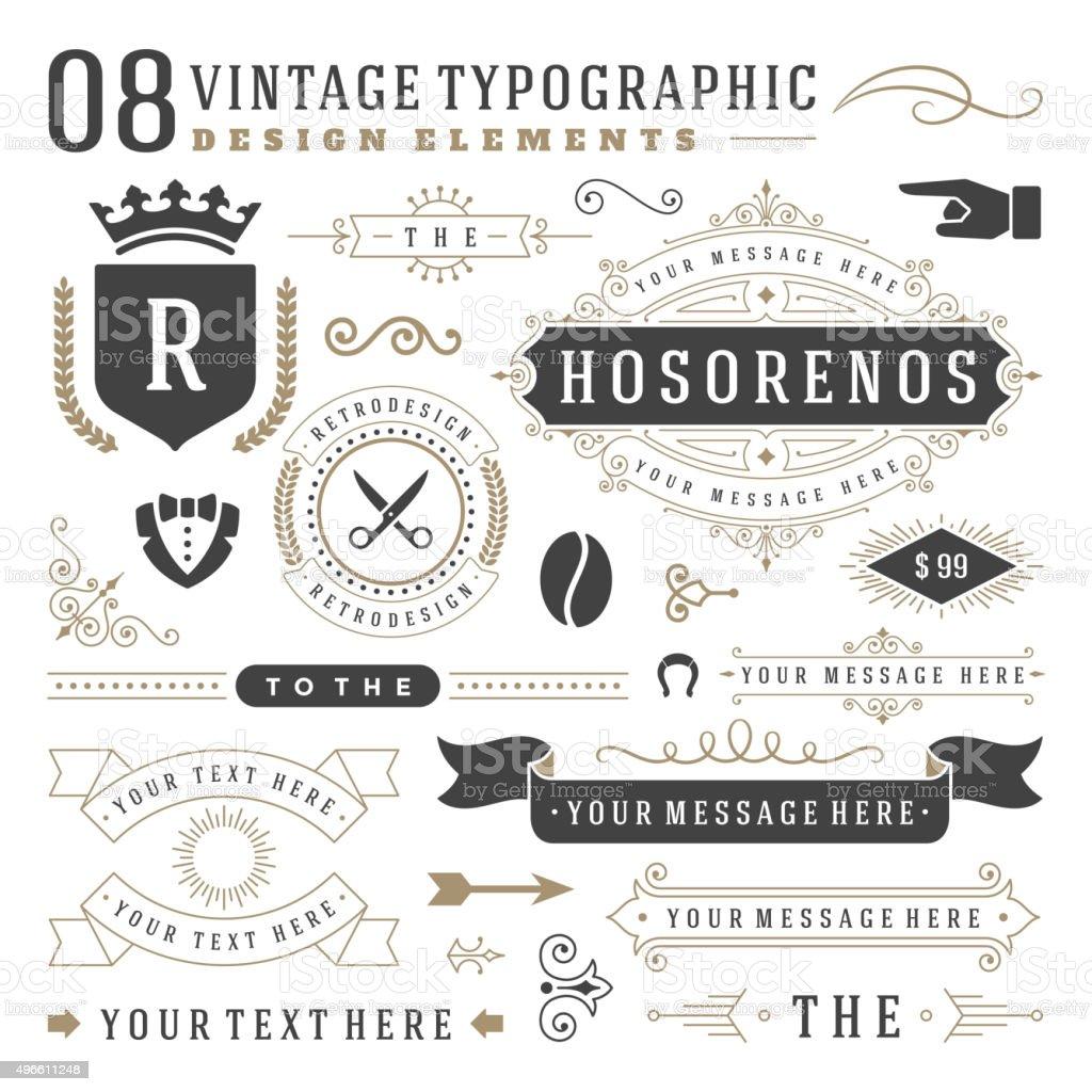Retro vintage typographic design elements vector art illustration