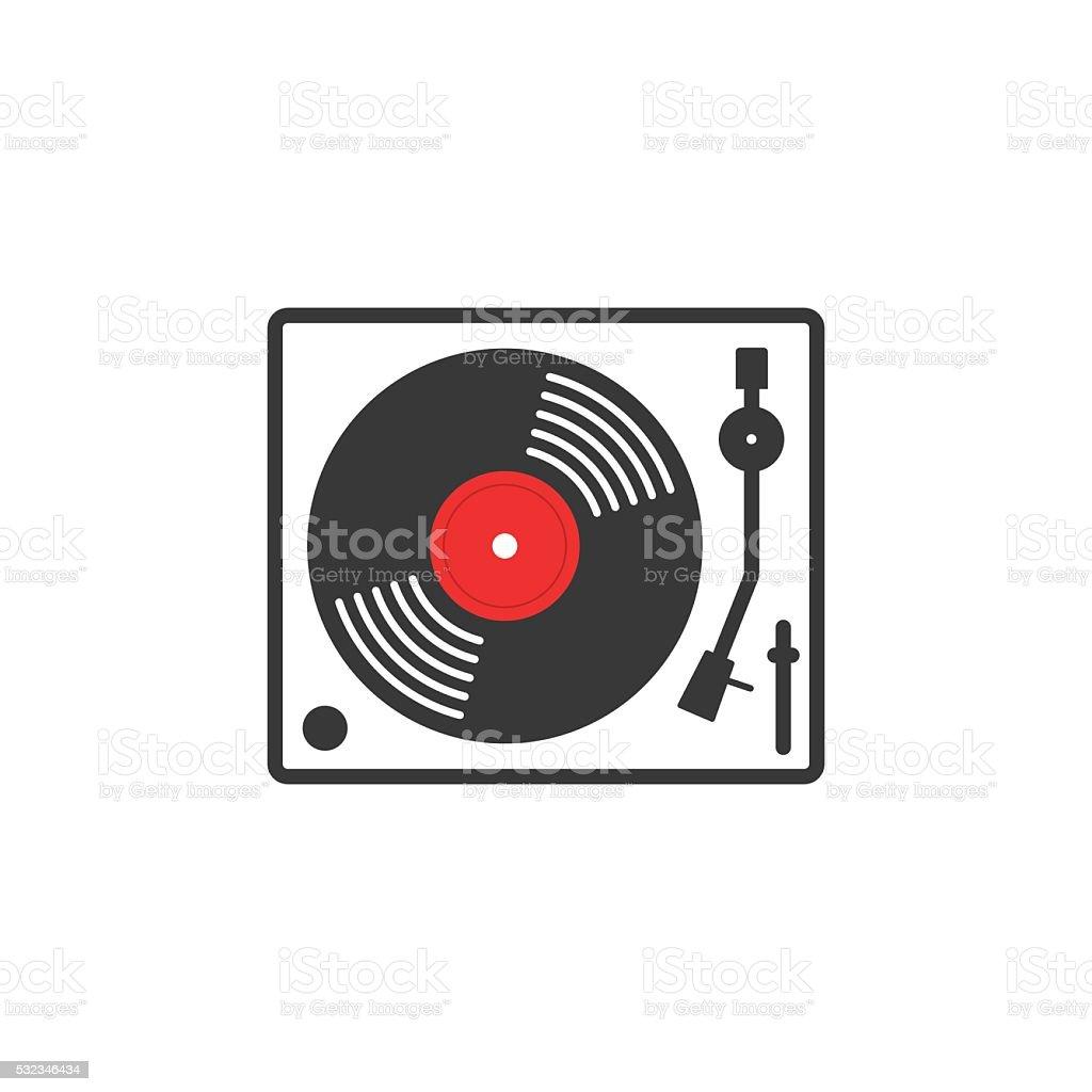 Retro vinyl music player vector icon vector art illustration