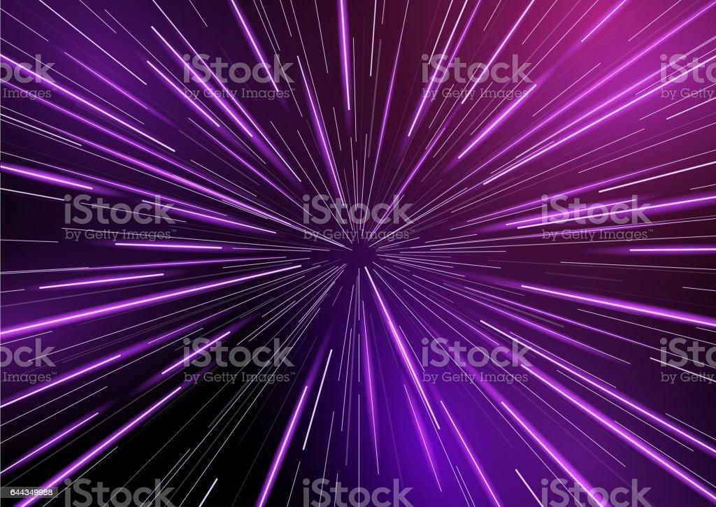 Retro Warp Star light Beams vector art illustration