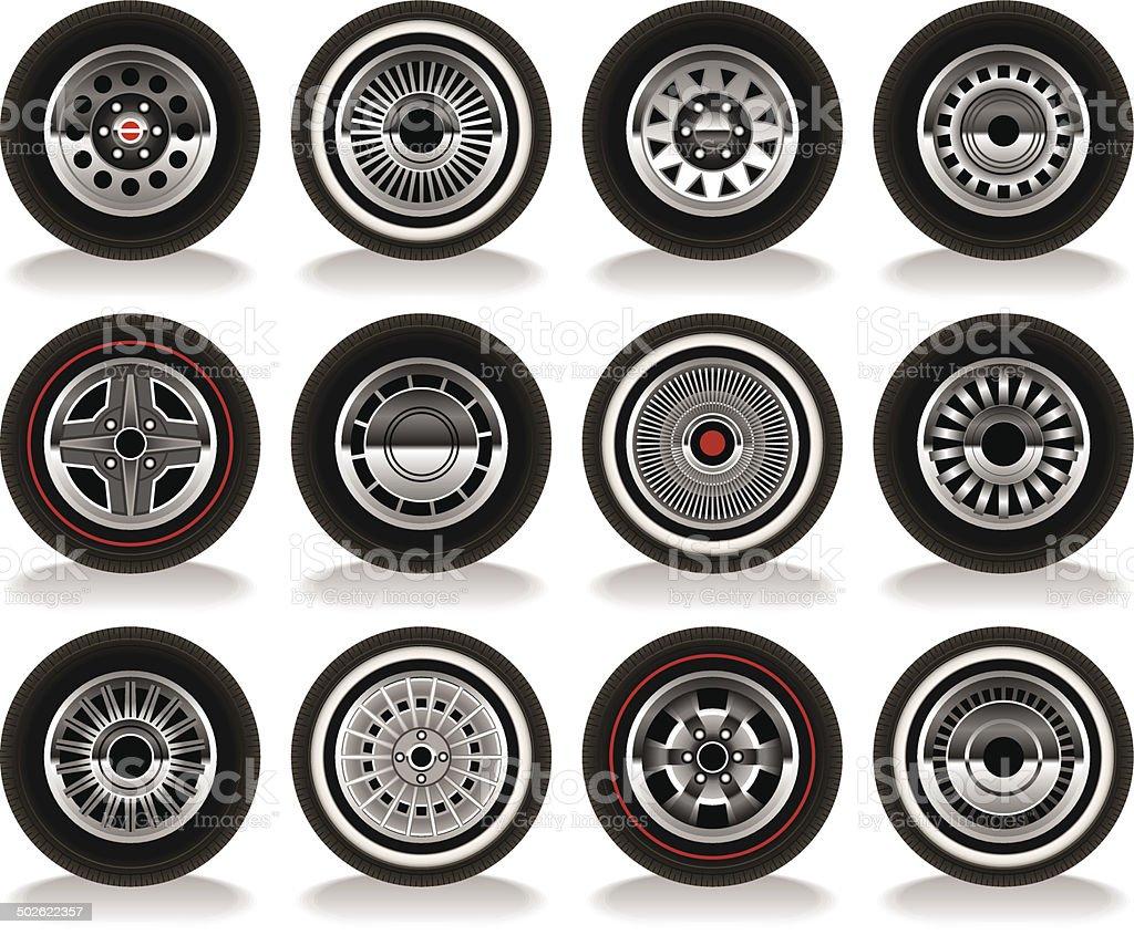 Retro Wheels vector art illustration