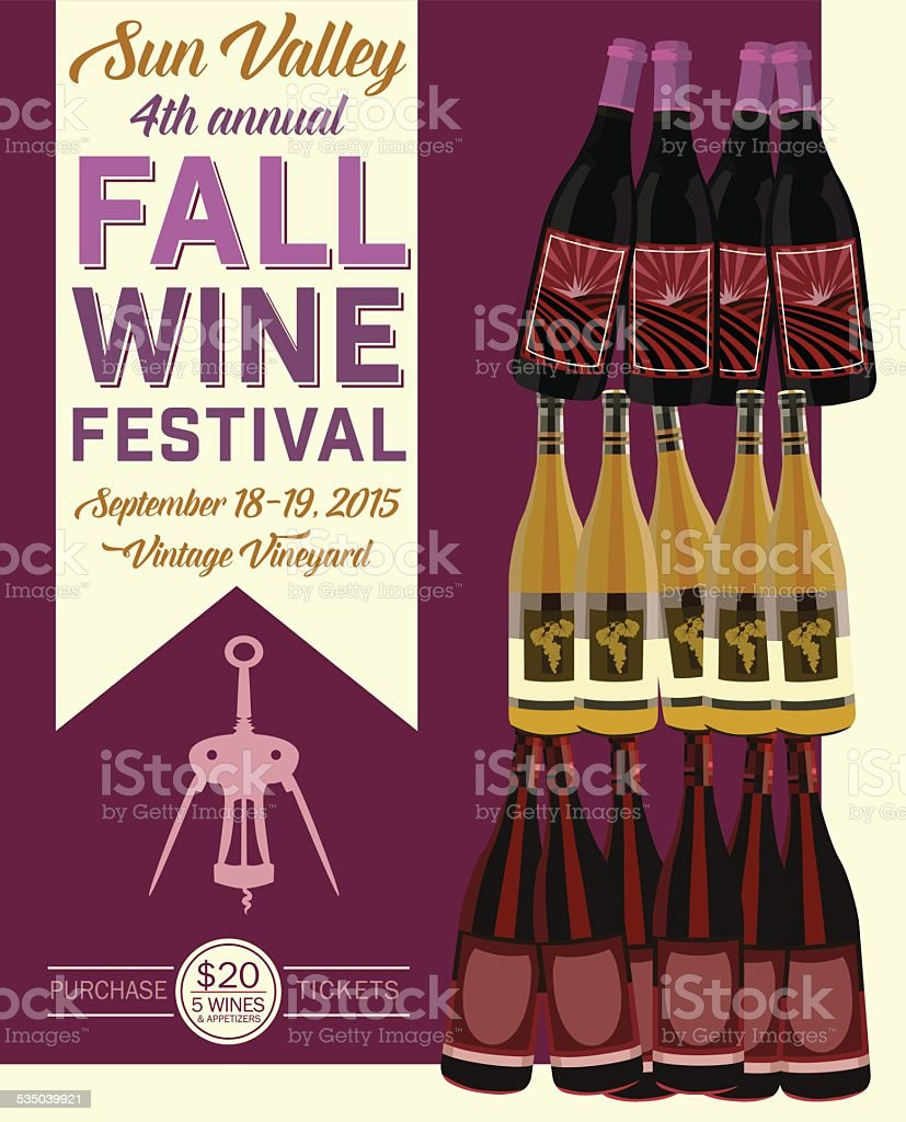 Retro Wine Tasting Event Invitation Poster Template vector art illustration
