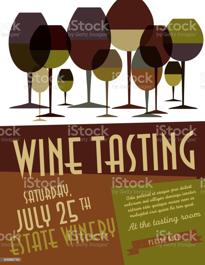 Retro wine tasting invitation template design vector art illustration