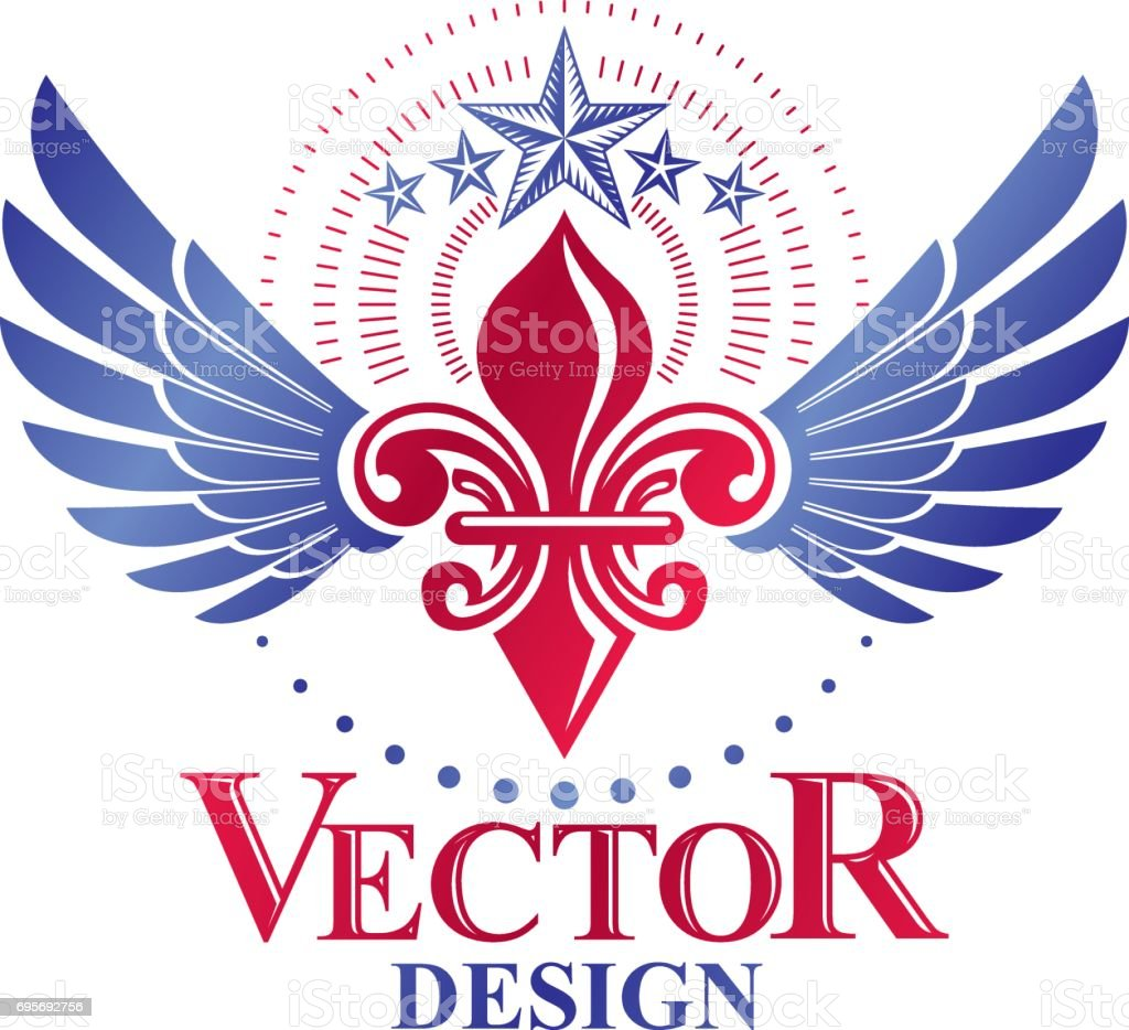Retro winged vintage Insignia created with lily flower and pentagonal stars. Vector product quality idea design element, Fleur-De-Lis. vector art illustration