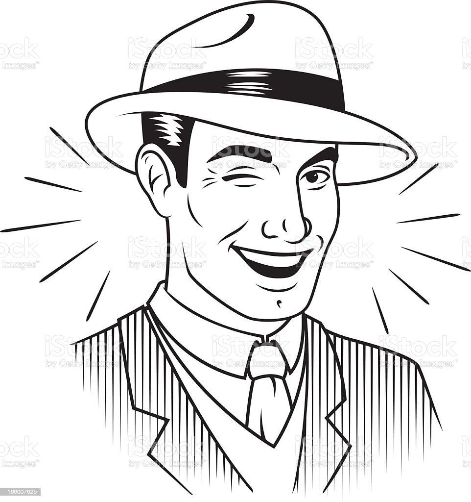 Retro Winking Man in Fedora vector art illustration