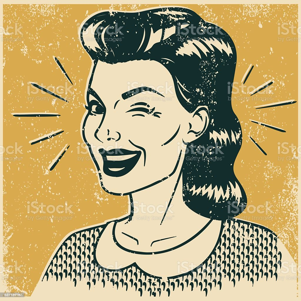 Retro Winking Woman vector art illustration