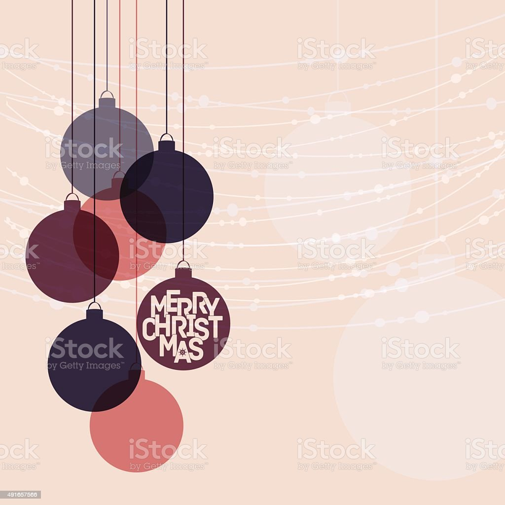 Retro winter holidays background with decorative balls and Mery Christmas vector art illustration