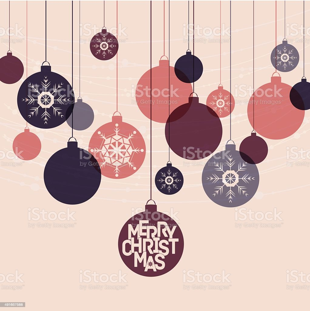 Retro winter holidays background with decorative balls snowflakes and Mery vector art illustration